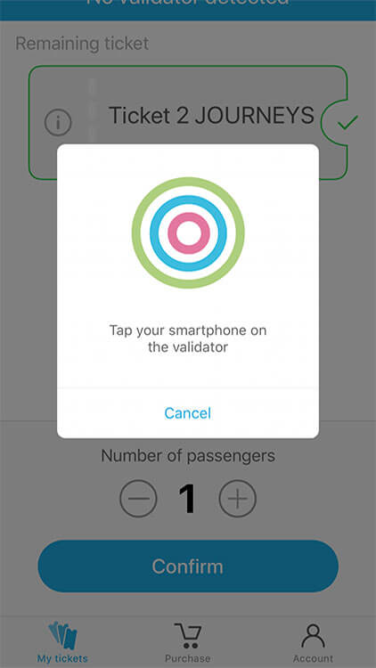 Screenshot of Witick with a ticket ready to validate on the tram