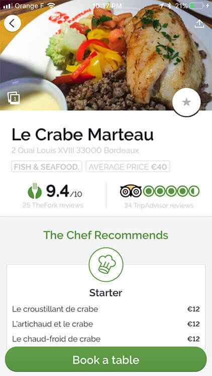 Looking at a sample menu and TripAdvisor reviews in LaFourchette app