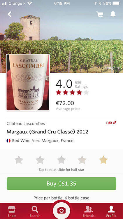 Vivino scan of Château Lascombes with price and rating