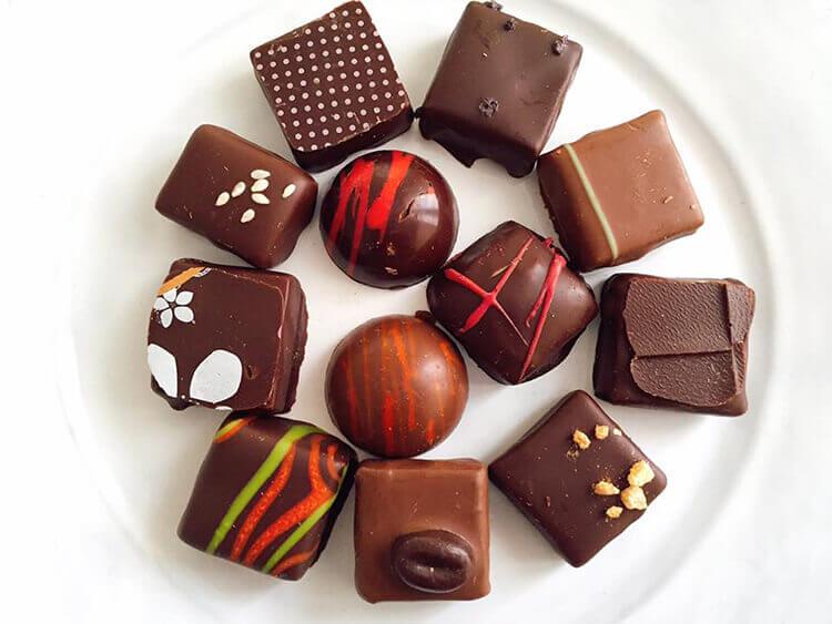 Various chocolate prailines at La Maison Darricau in Bordeaux, France