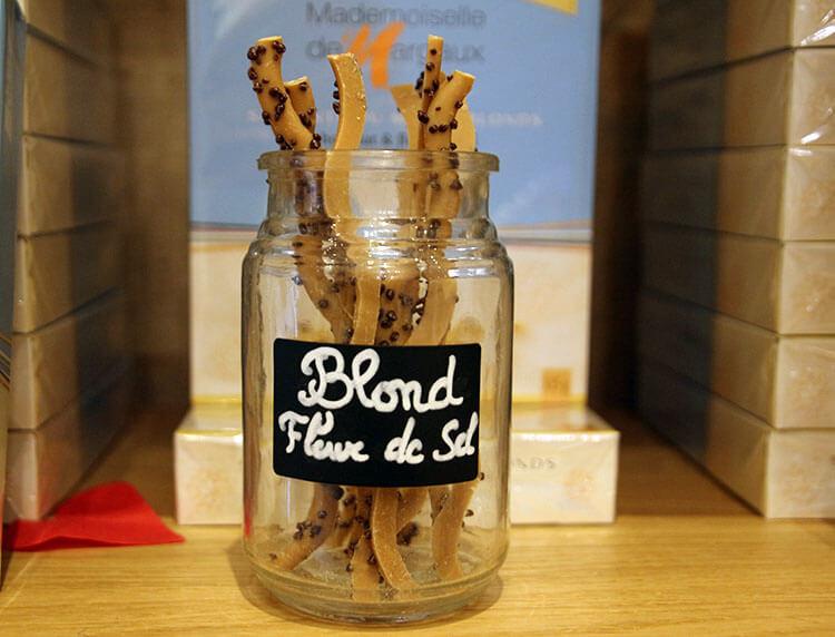 A jar of Blonde Fleur de Sel sarments to taste at Mademoiselle de Margaux in Bordeaux