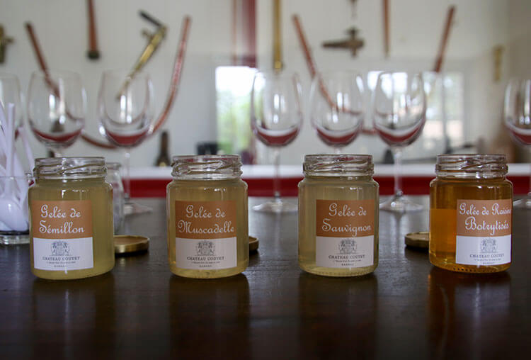 The four jellies made from Semillon, Sauvignon Blanc, Muscadella and botrytis grapes