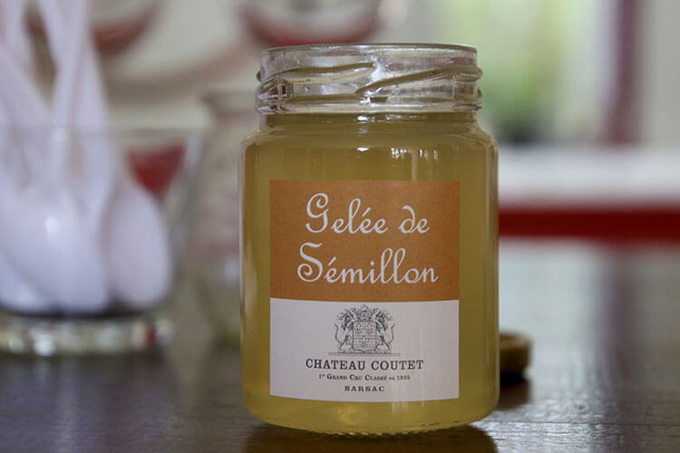 A jar of the Semillon jelly at Château Coutet Barsac