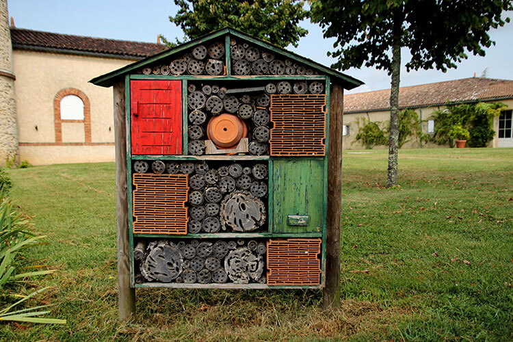 One of the many insect hotels located around Chateau Guiraud