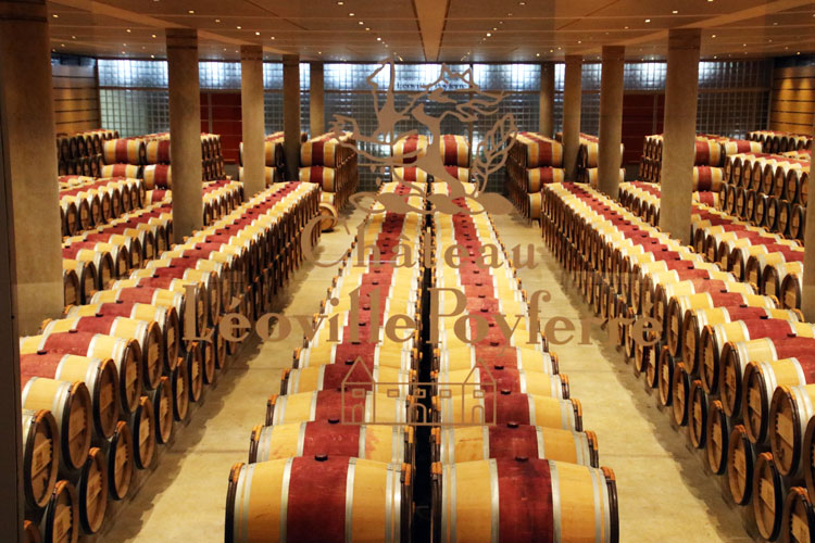 The barrel room at Château Léoville-Poyferré with many rows of oak barrels painted with the red center as often typical in Bordeaux