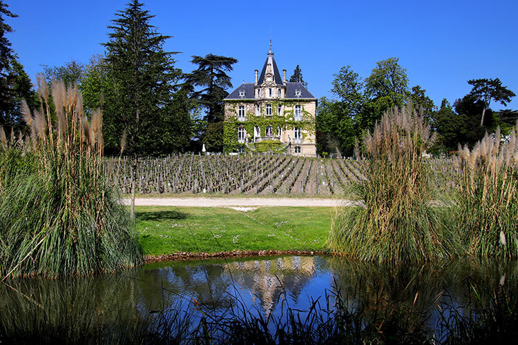 The 19th century mansion covered in vines sitting at the end of one of the plots of grape vines at Chateau Les Carmes Haut-Brion