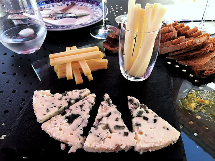 A cheese plate with Roquefort, Comté and Basque cheeses
