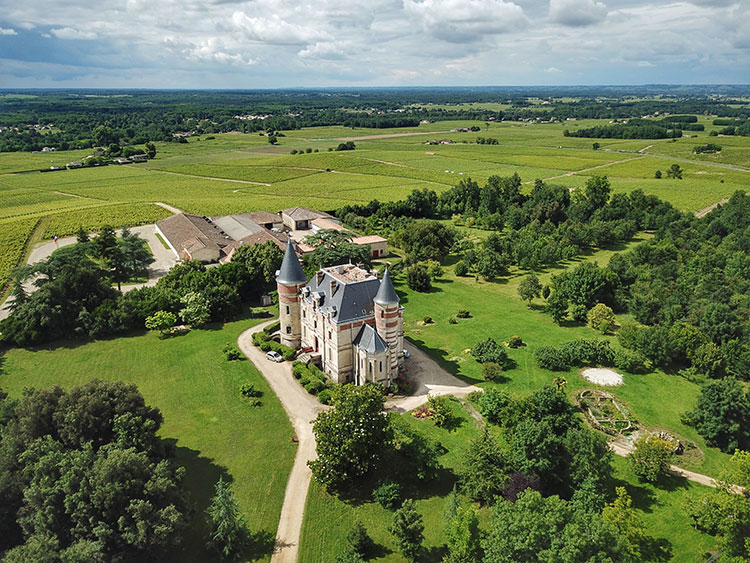 Drone aerial of the castle of Chateau de Rayne Vigneau surrounded by vineyards
