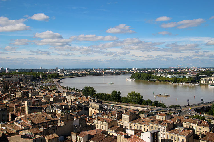 View of curving Garonne River from La Flèche Saint Michel, Bordeaux, France