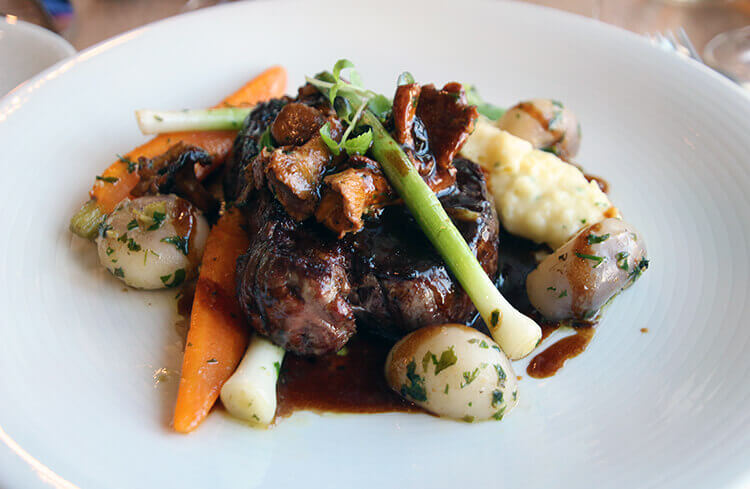 Filet of beef with mashed potatoes and root vegetables at Le 7 Restaurant at La Cite du Vin