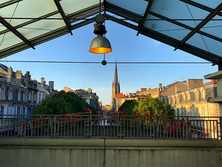 Looking out at the St Michel quartier from the Marché des Capucins