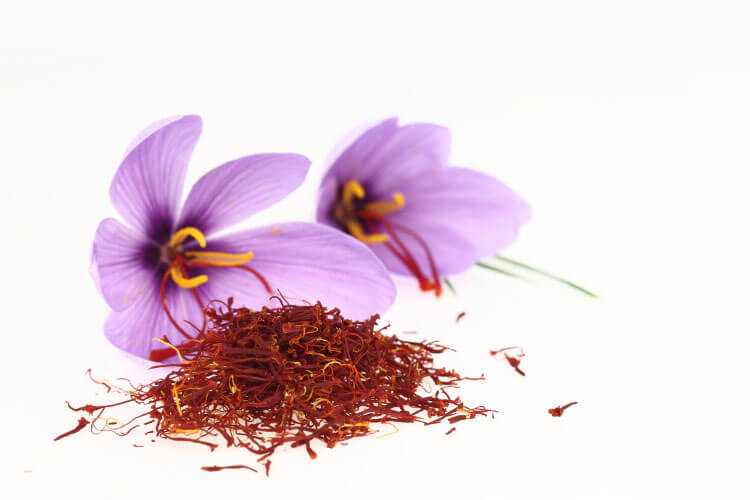 Some harvested saffron piled in front of the purpose flowers