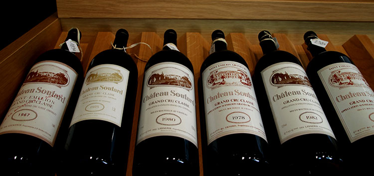 A range of vintages for sale in the boutique at Château Soutard