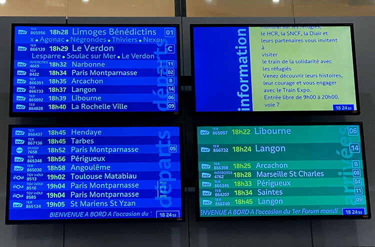 The departures board showing the train departures in Gare de Bordeaux-Saint-Jean