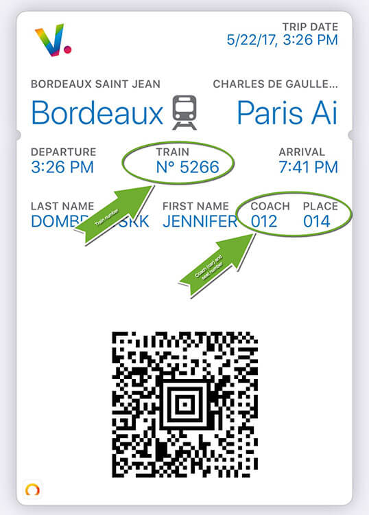 A screen shot of an e-ticket for a TGV Bordeaux Paris train