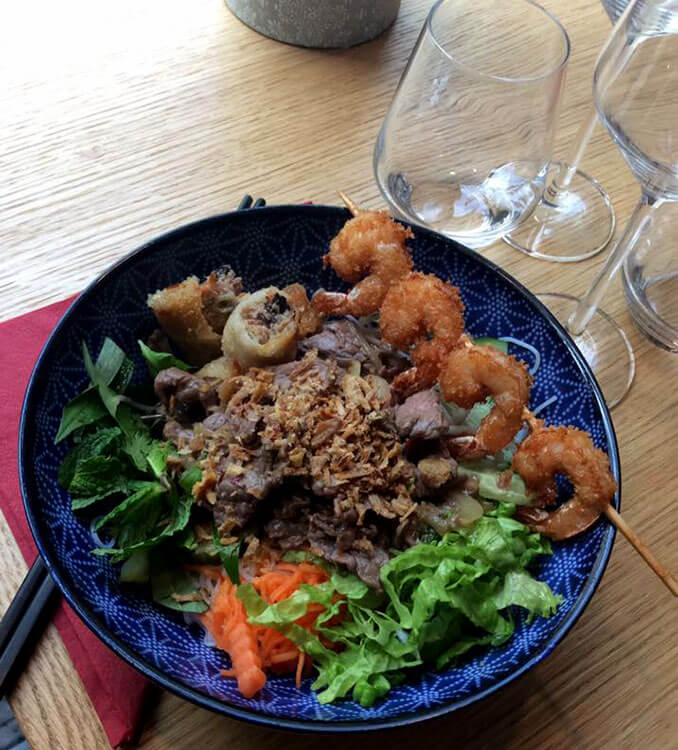 BoBunTom with vermicelli noodles and perfumed beef with fried shrimp at Cafe Saigon in Saint-Émilion