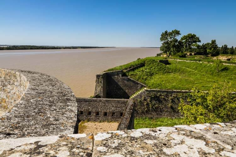 Standing on the north tower looking over the Gironde Estuary at the Citadelle de Blaye