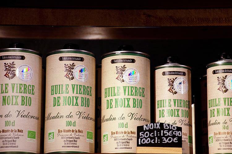 Walnut oil for sale in the shop of the Ecomusée de la Noix