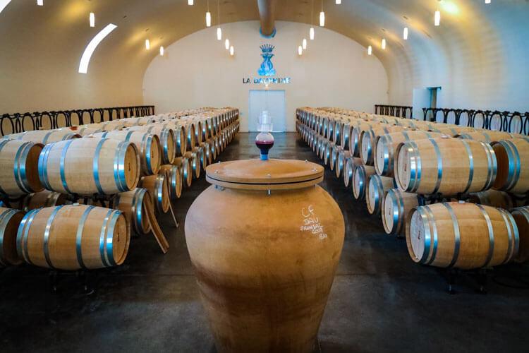 The barrel cellar at Château de la Dauphine